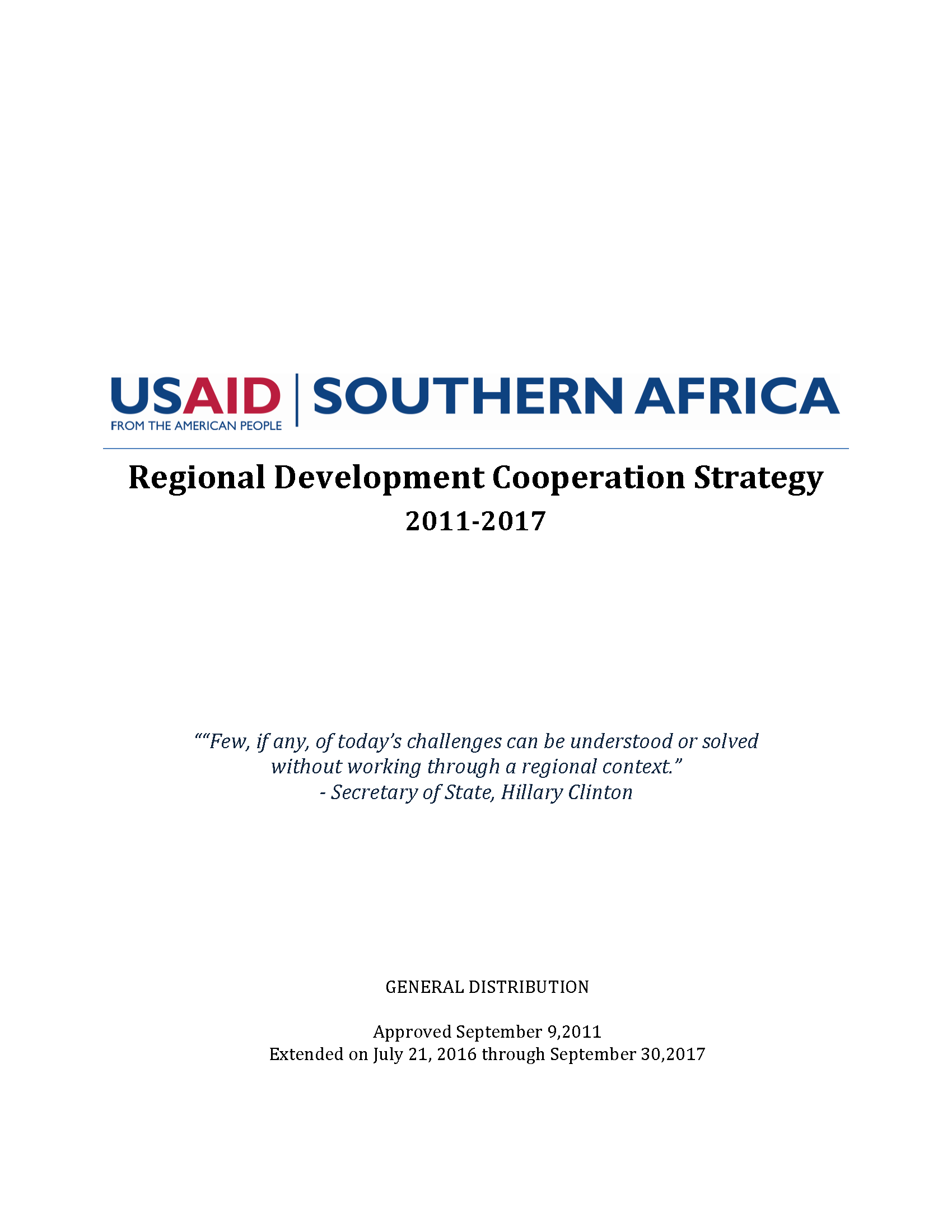 USAID Southern Africa Regional Regional Development Cooperation Strategy 2011-2017