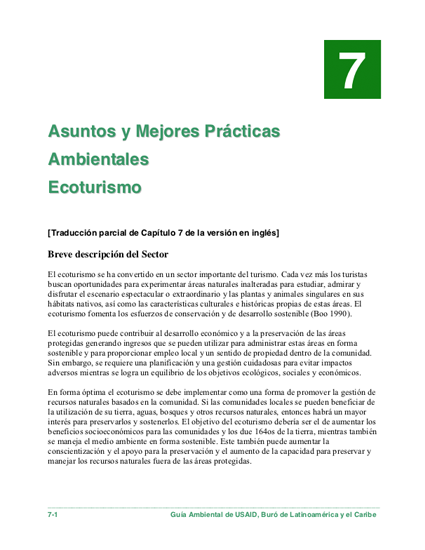 Sector Environmental Guideline: Ecotourism (2003 - Spanish)