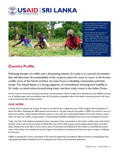 USAID Sri Lanka country profile 2013