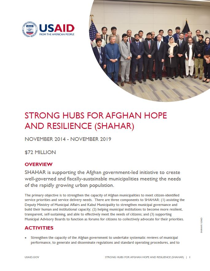 Strong Hubs for Afghan Hope and Resilience (SHAHAR)