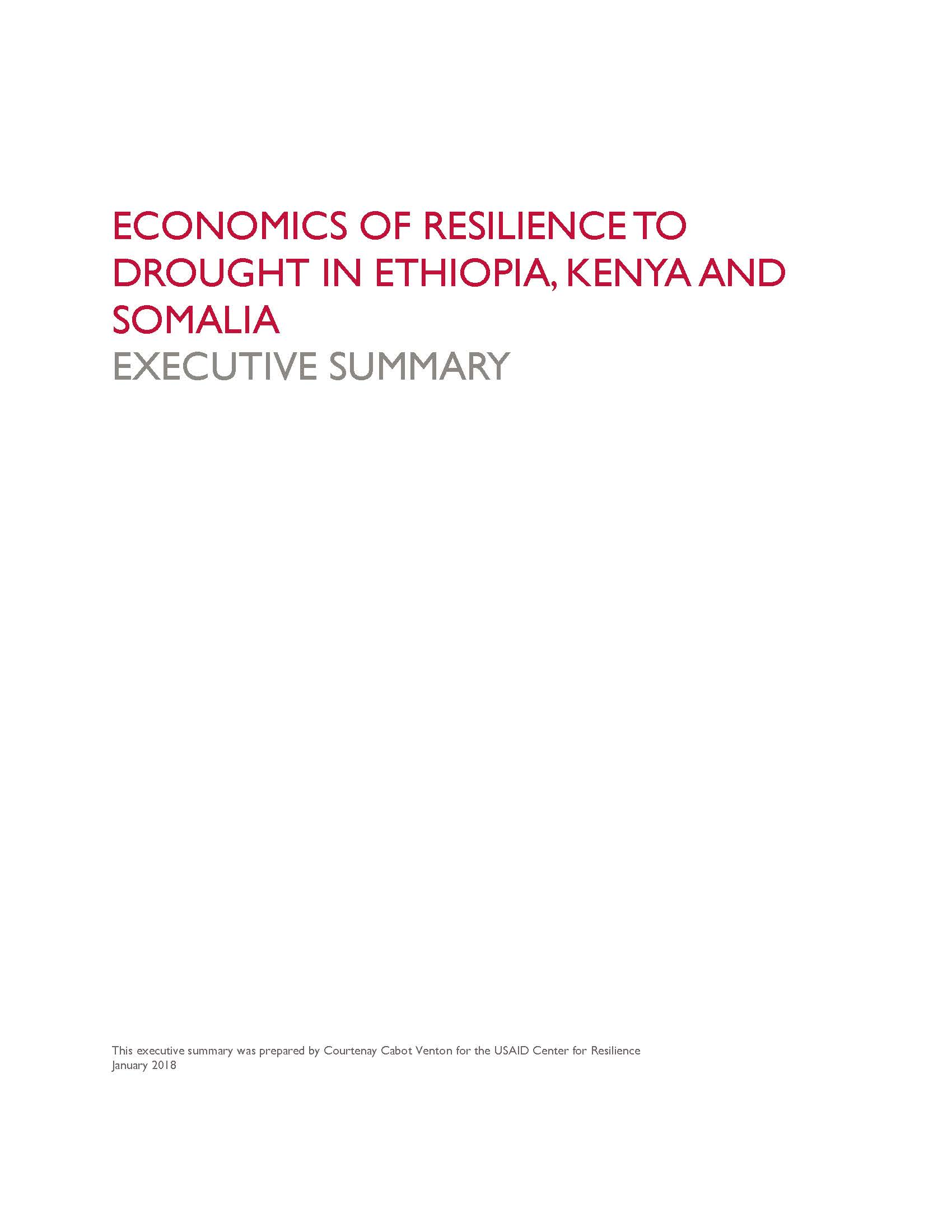 Economics of Resilience to Drought: Executive Summary