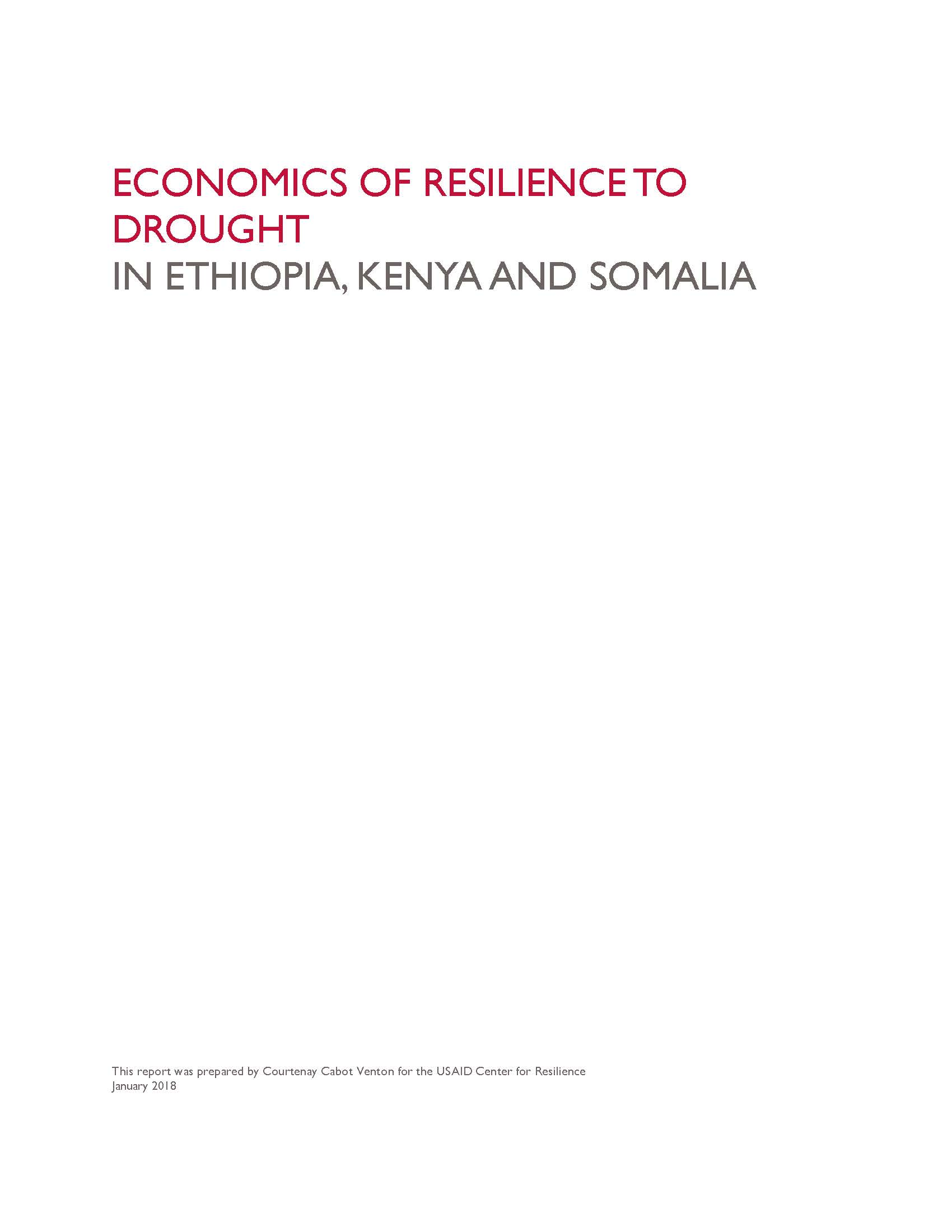 Economics of Resilience to Drought: Summary