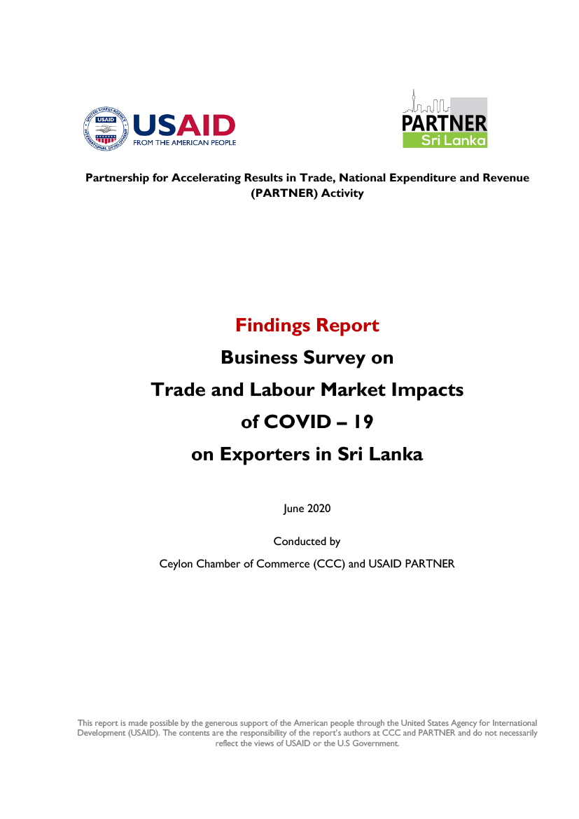 Business Survey: Assessing Trade and Labour market Impacts of COVID–19 on Exporters