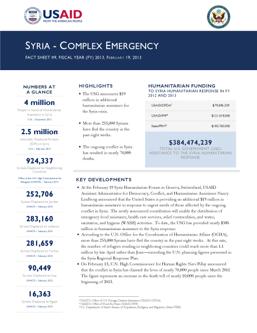 Syria Complex Emergency Fact Sheet #9 - 02/19/13
