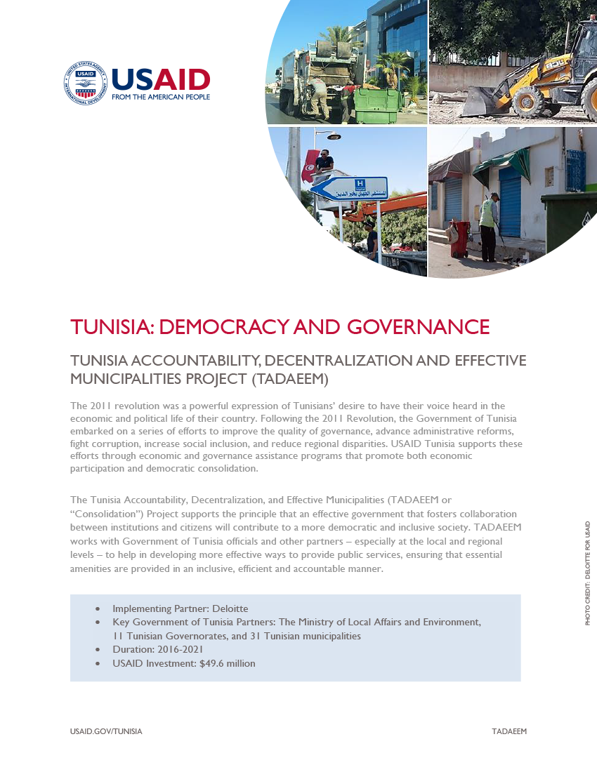 Tunisia Accountability, Decentralization, and Effective Municipalities (TADAEEM) Fact Sheet - Click to download