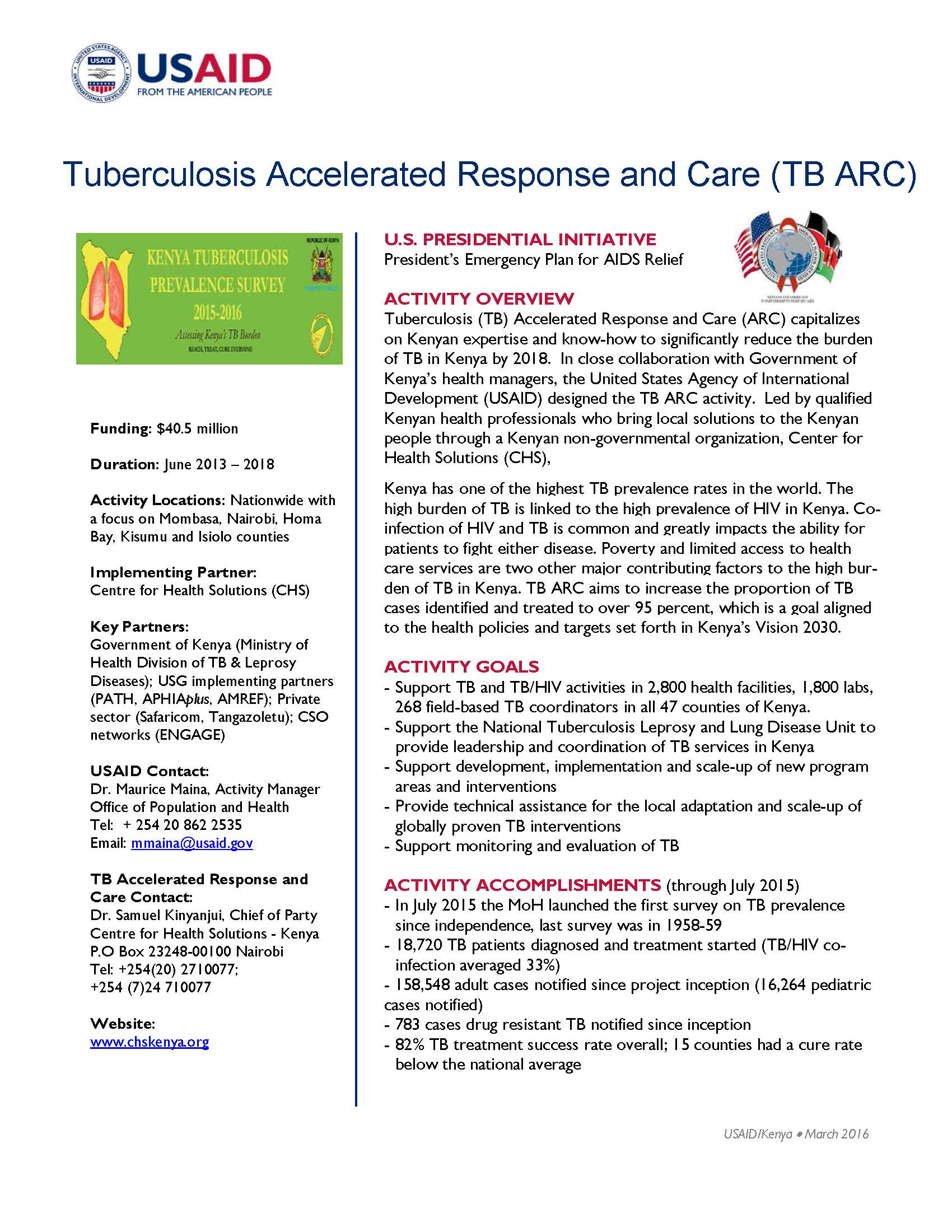 Tuberculosis Accelerated Response and Care (TB ARC)