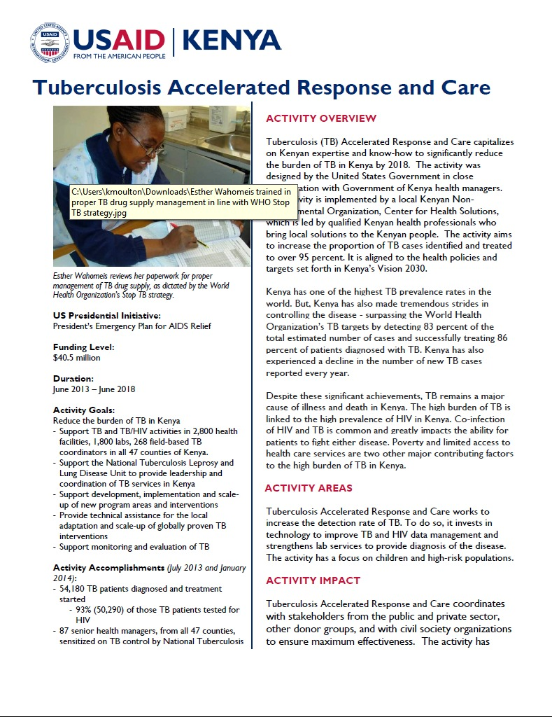 Tuberculosis Accelerated Response and Care Fact Sheet_March 2014