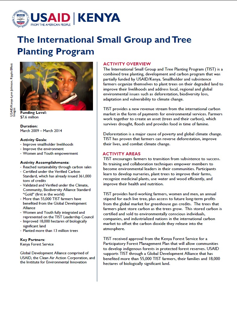 The International Small Group and Tree Planting Program Fact Sheet_May 2014