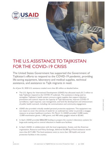 The U.S. Assistance to Tajikistan for the COVID-19 Crisis Fact Sheet