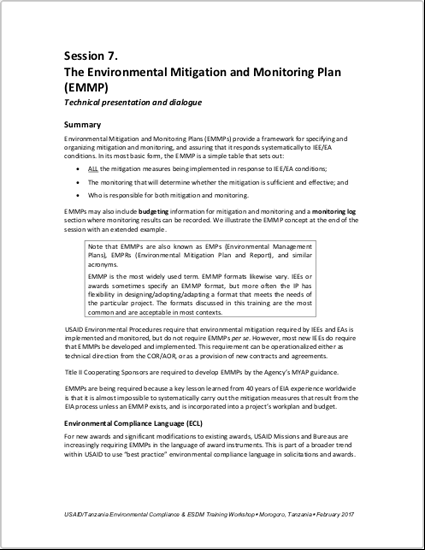 4.5-DAY BASIC EC-ESDM - Session 7: The Environmental Mitigation and Monitoring Plan