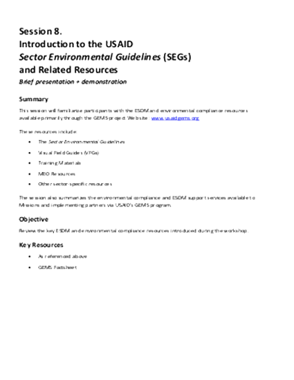 4.5-DAY BASIC EC-ESDM - Session 8: Introduction to Sector Environmental Guidelines