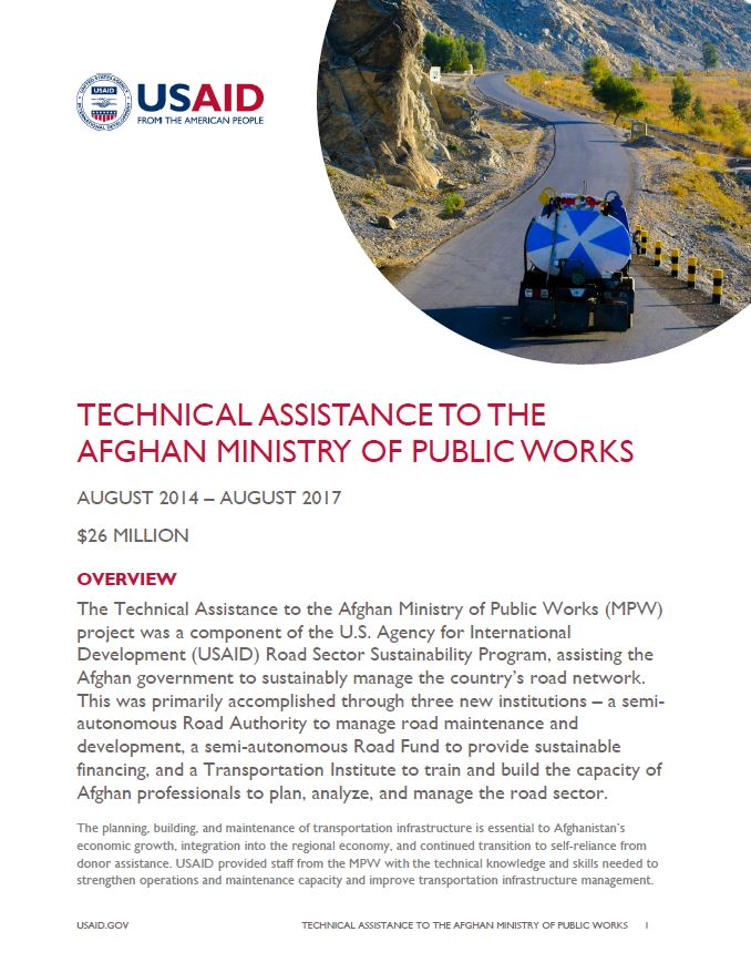 Technical Assistance to the Afghan Ministry of Public Works