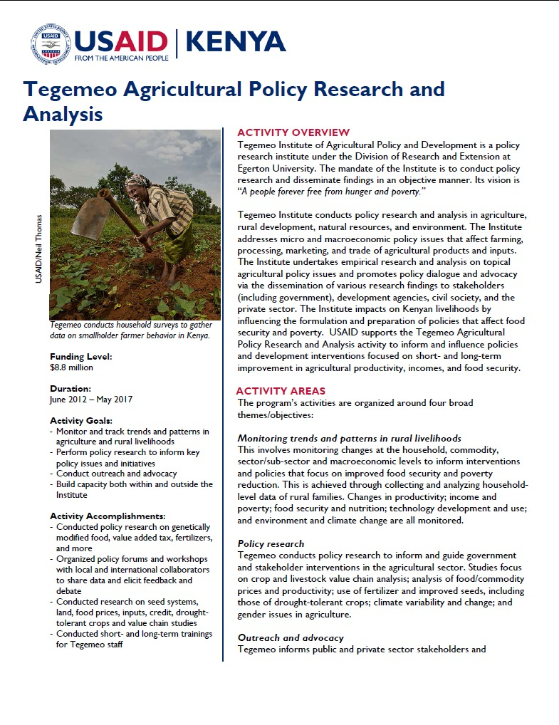 Tegemeo Agricultural Policy Research and Analysis  Fact Sheet September 2014