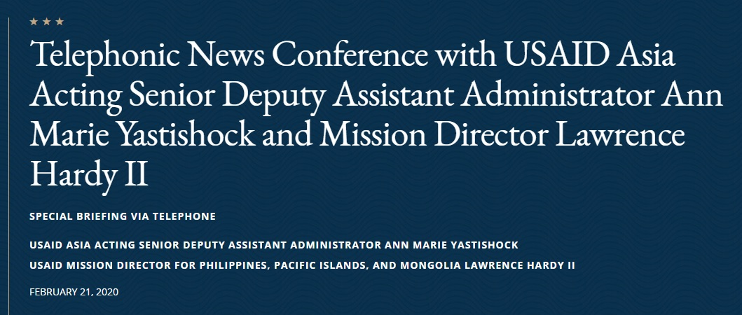 Full Transcript: Telephonic News Conference with USAID Asia Acting SDAA Ann Marie Yastishock and Mission Dir. Lawrence Hardy II