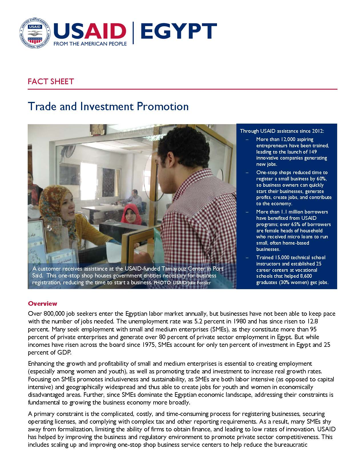 USAID/Egypt Trade Fact Sheet