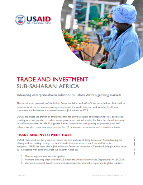 USAID Trade and Investment Activities in Sub-Saharan Africa
