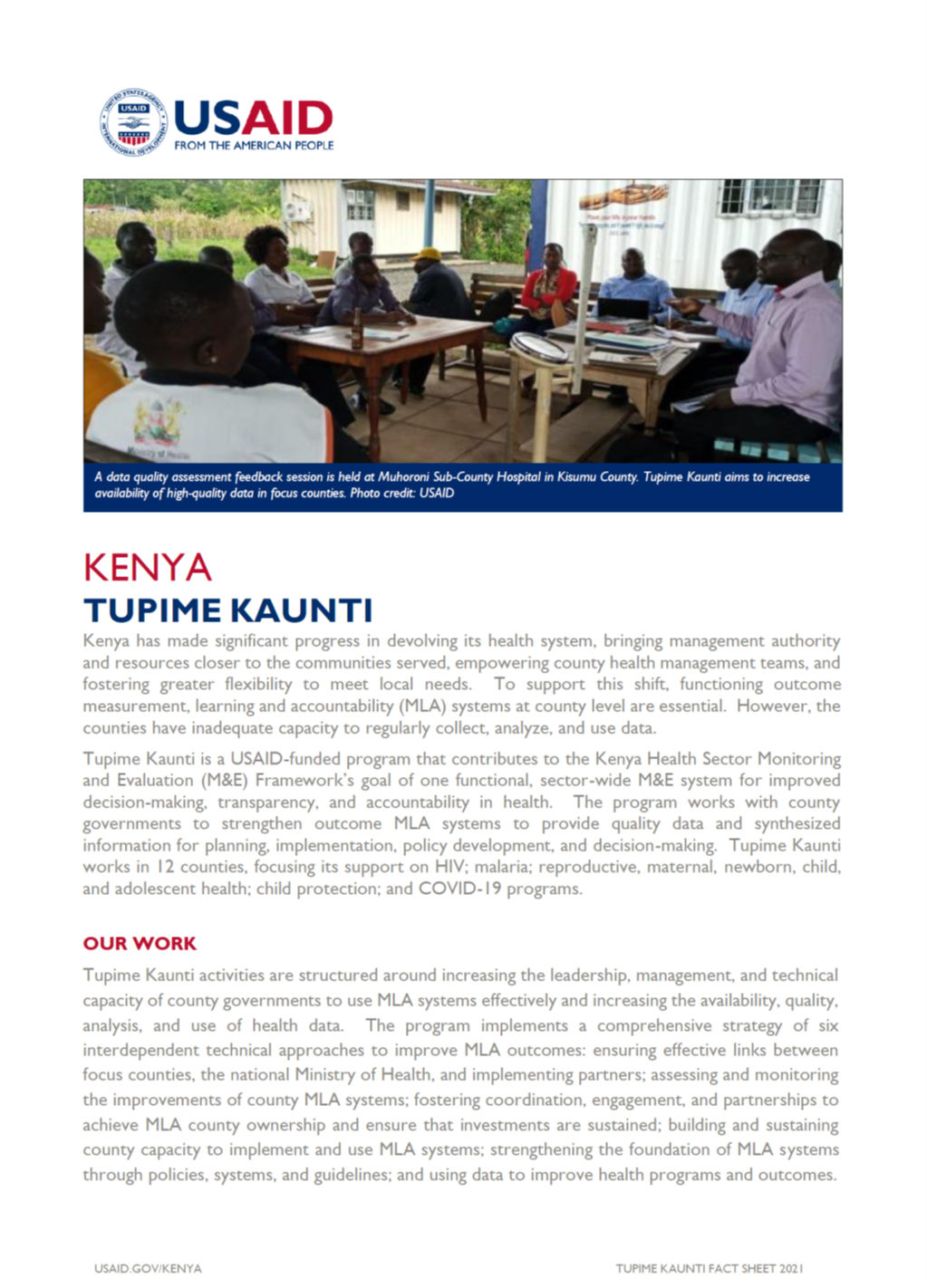 Tupime Kaunti fact sheet