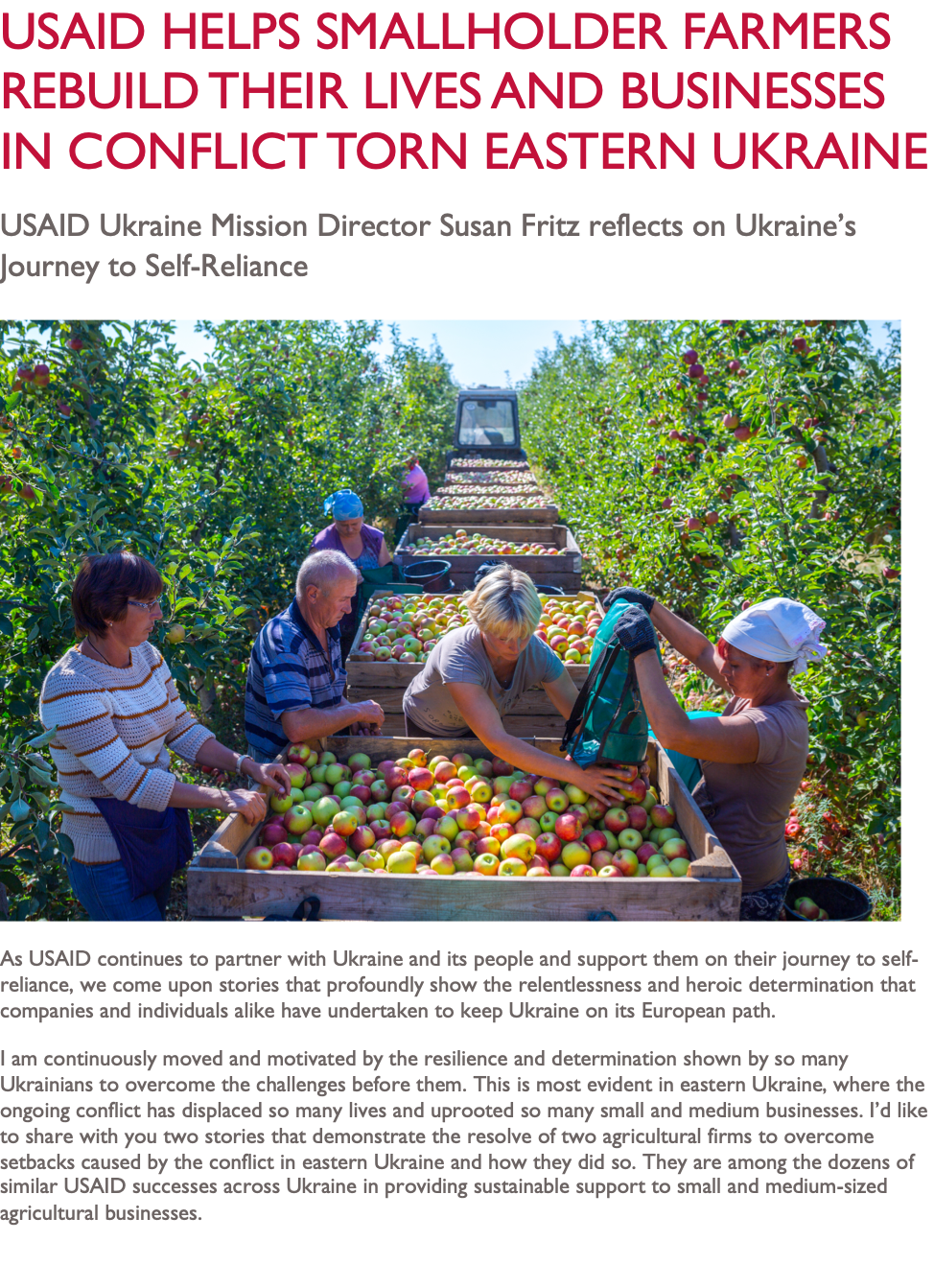USAID Helps Smallholder Farmers Rebuild Their Lives and Businesses in Conflict Torn Eastern Ukraine
