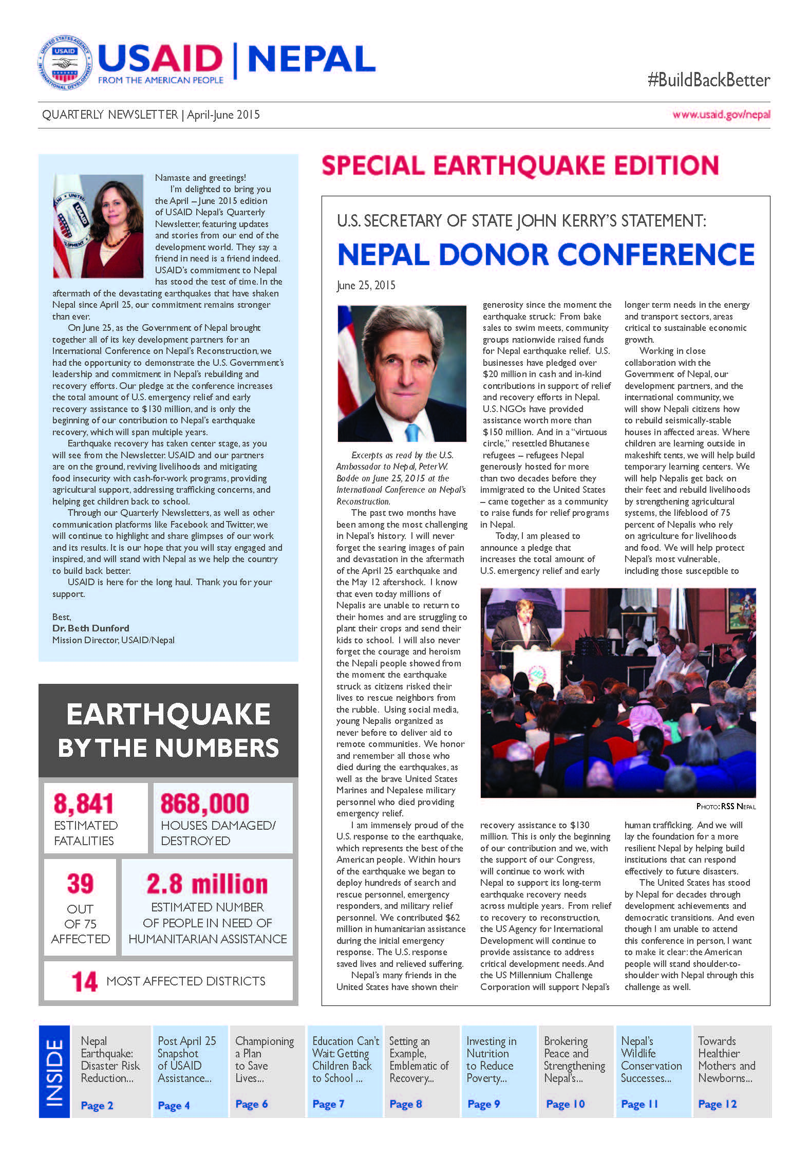 USAID NEPAL QUARTERLY NEWSLETTER: APRIL TO JUNE, 2015
