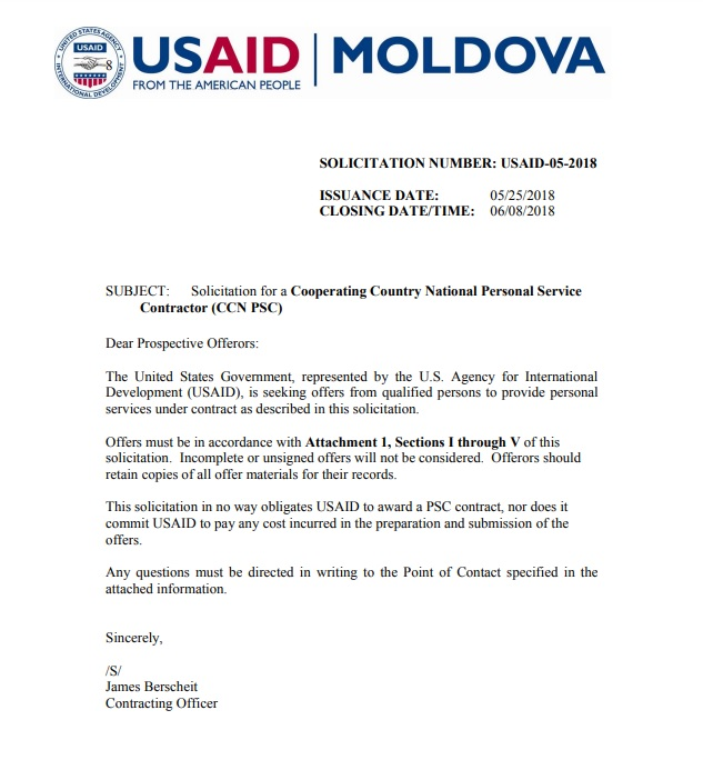 Vacancy Announcement USAID-05-2018: Executive Office Administrative Assistant Job Position at USAID/Moldova