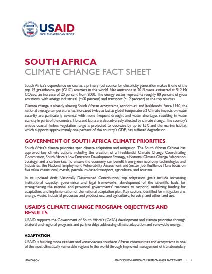 South Africa Climate Change Country Profile