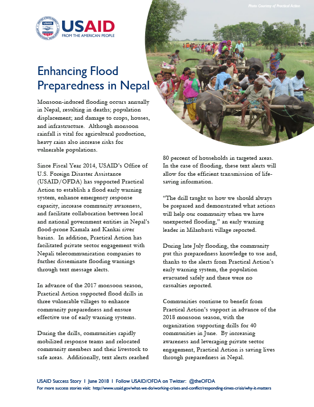FACT SHEET: Enhancing Flood Preparedness in Nepal