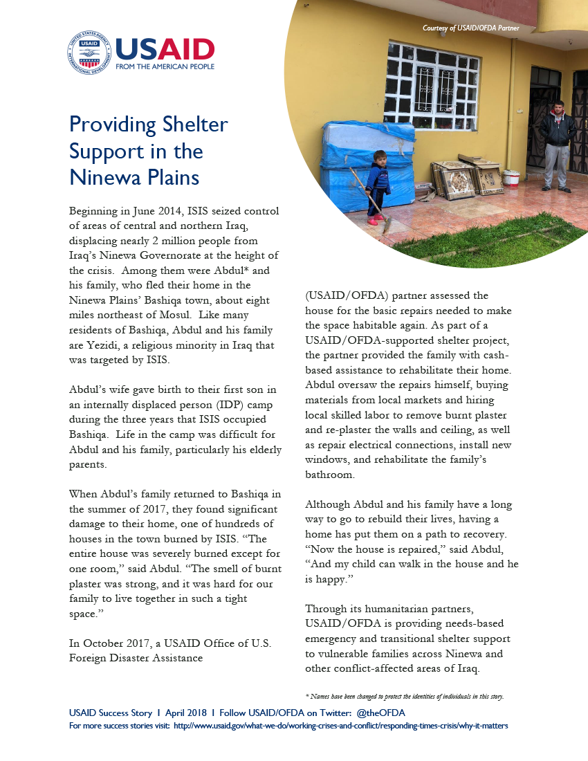 USAID/DCHA Success Story: Iraq - Providing Shelter Support in the Ninewa Plains