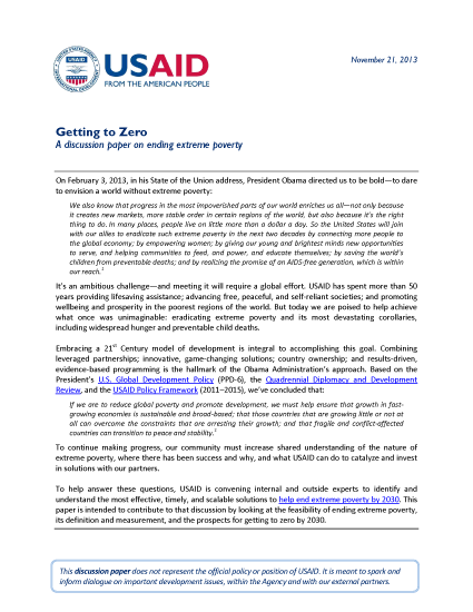 Getting to Zero: A discussion paper on ending extreme poverty