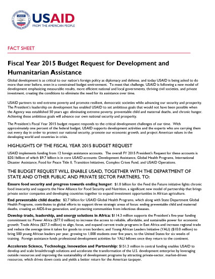 Fiscal Year 2015 Budget Request for Development and Humanitarian Assistance - Fact Sheet