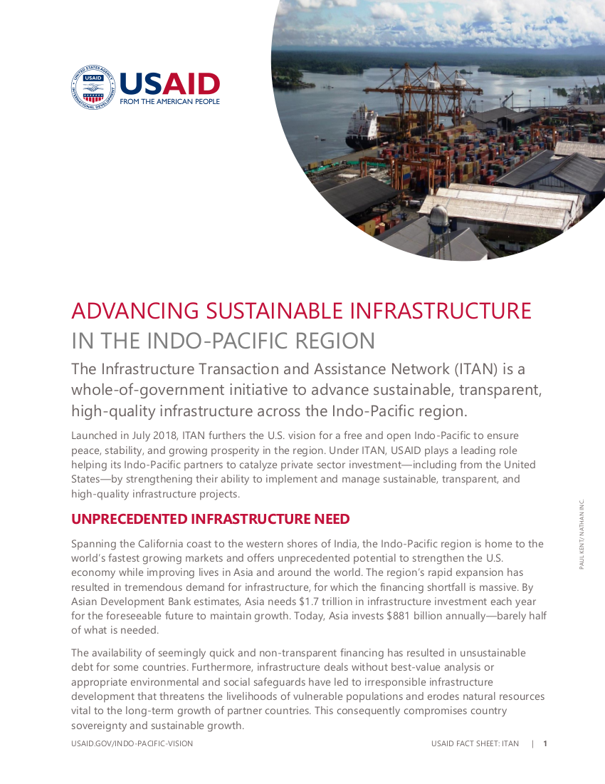 Fact Sheet: Advancing Sustainable Infrastructure in the Indo-Pacific Region