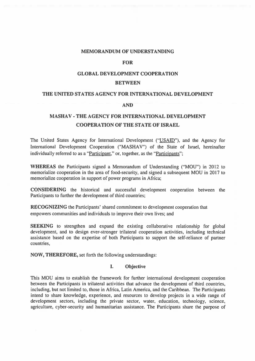 Memorandum of Understanding: USAID and the Agency for International Development Cooperation (MASHAV)