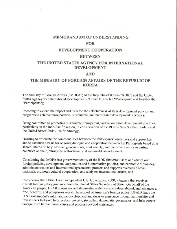 MOU: USAID and the Ministry of Foreign Affairs of the Republic of Korea