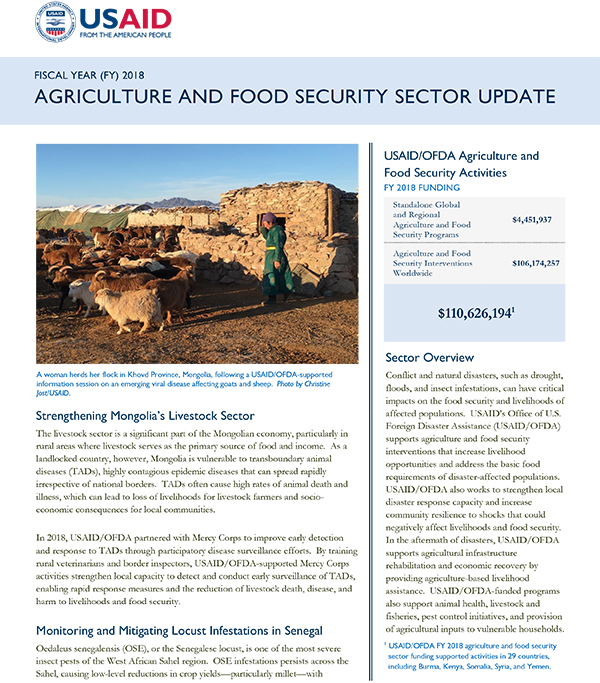 Agriculture and Food Security Sector Update FY 2018