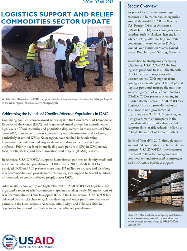USAID/OFDA Logistics Support and Relief Commodities Sector Update