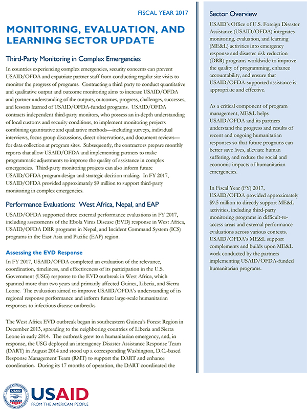 USAID/OFDA Monitoring, Evaluation, and Learning Sector Update