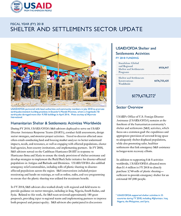 Shelter and Settlements Sector Update FY 2018