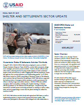 USAID-OFDA Shelter and Settlements Sector Update - FY 2019