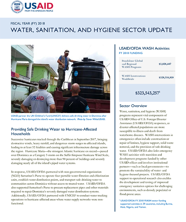 Water, Sanitation, and Hygiene Sector Update FY 2018