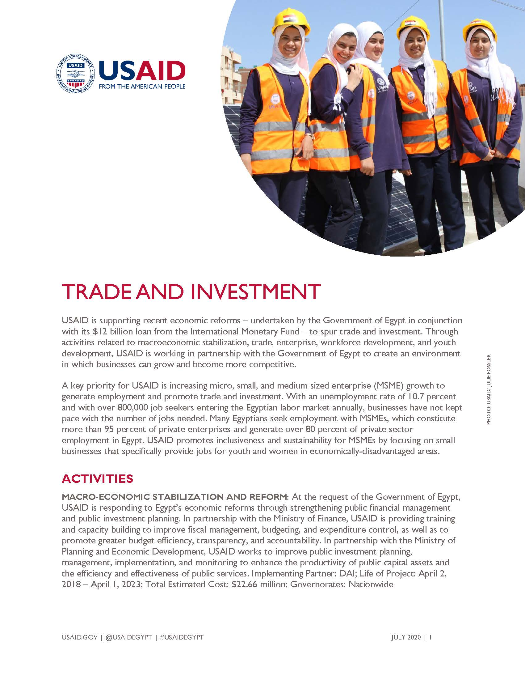 USAID/Egypt Fact Sheet: Trade and Investment