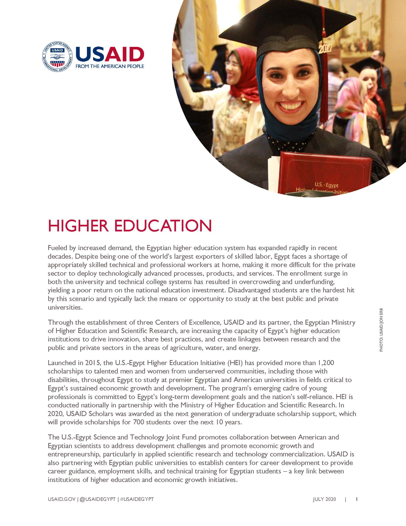 USAID/Egypt Fact Sheet: Higher Education