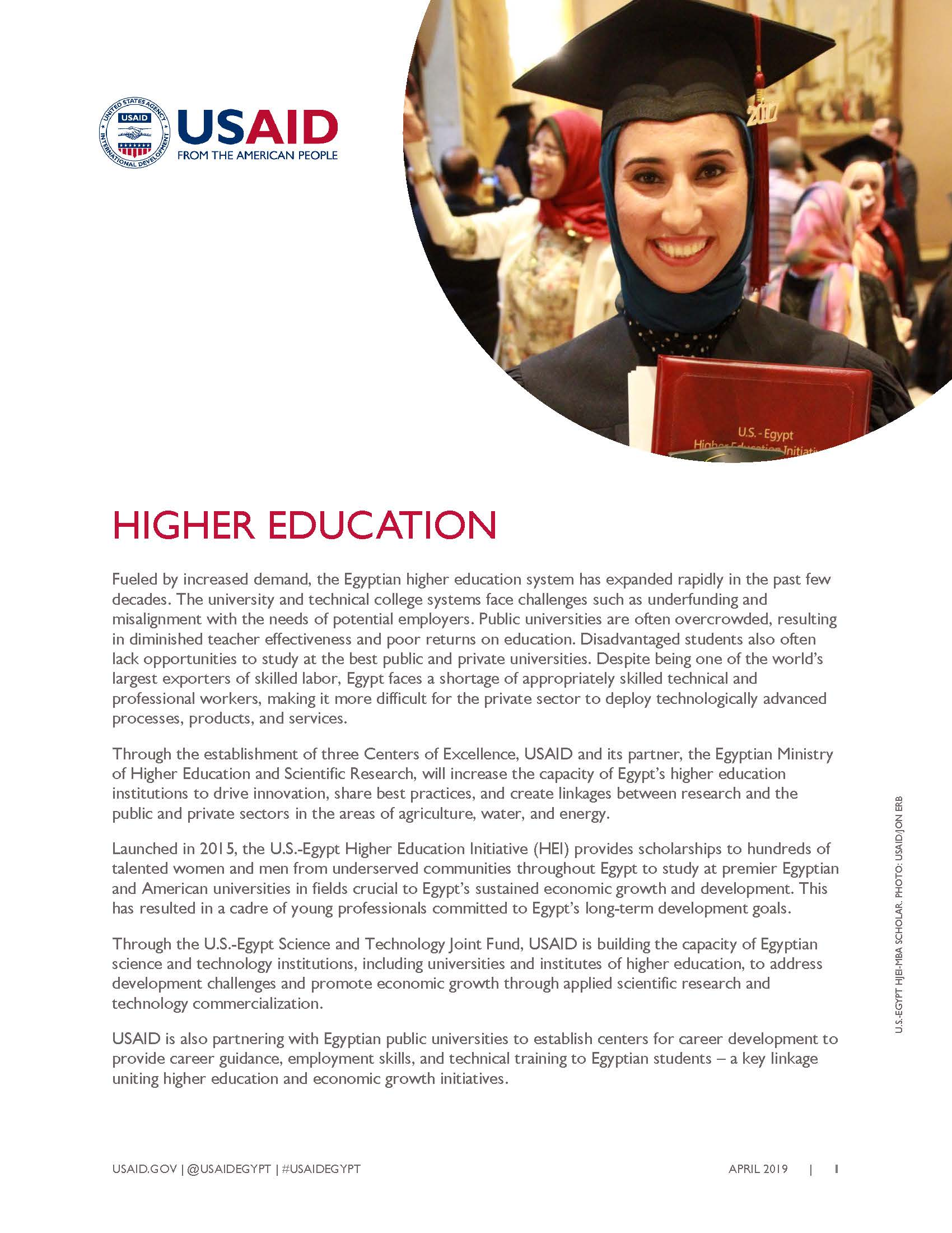 USAID/Egypt Higher Education Fact Sheet
