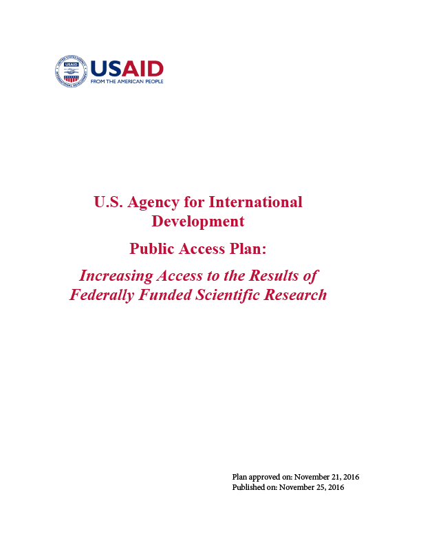 Public Access Plan: Increasing Access to the Results of Federally Funded Scientific Research