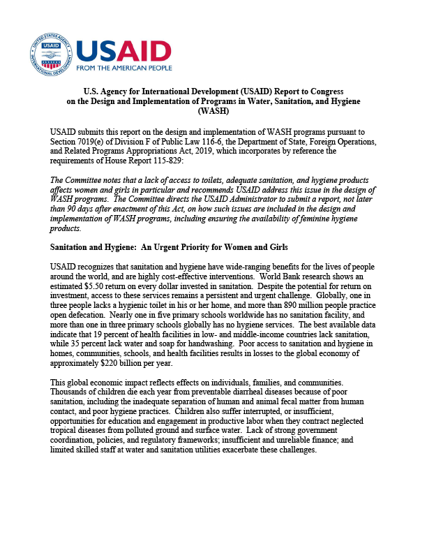 Report to Congress on the Design and Implementation of Programs in Water, Sanitation, and Hygiene (WASH) - 2019