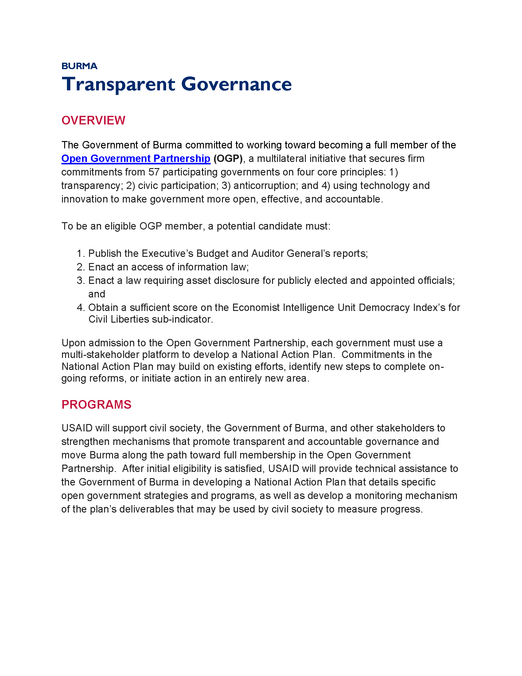 Burma Transparent Governance Fact Sheet
