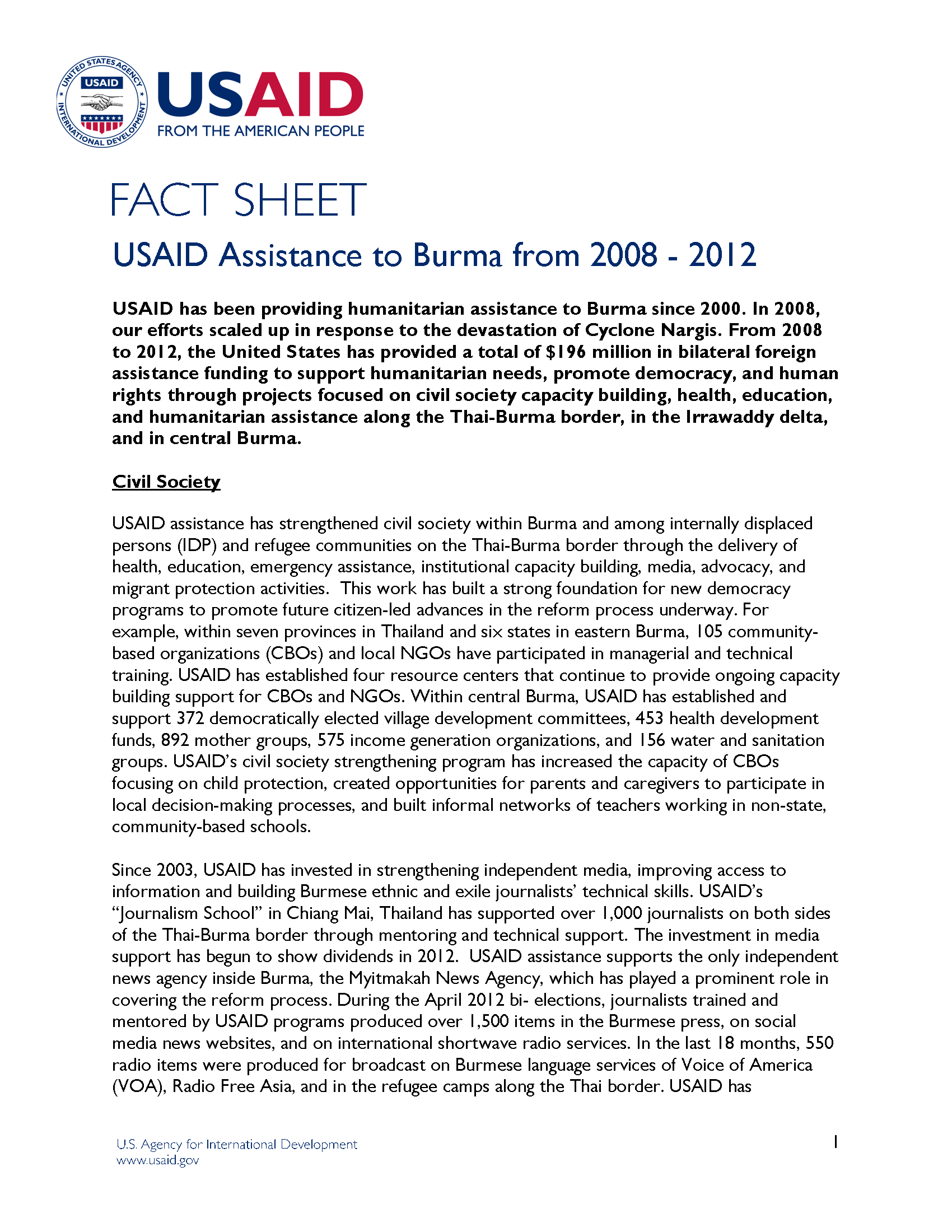 USAID Assistance to Burma from 2008 - 2012 Fact Sheet