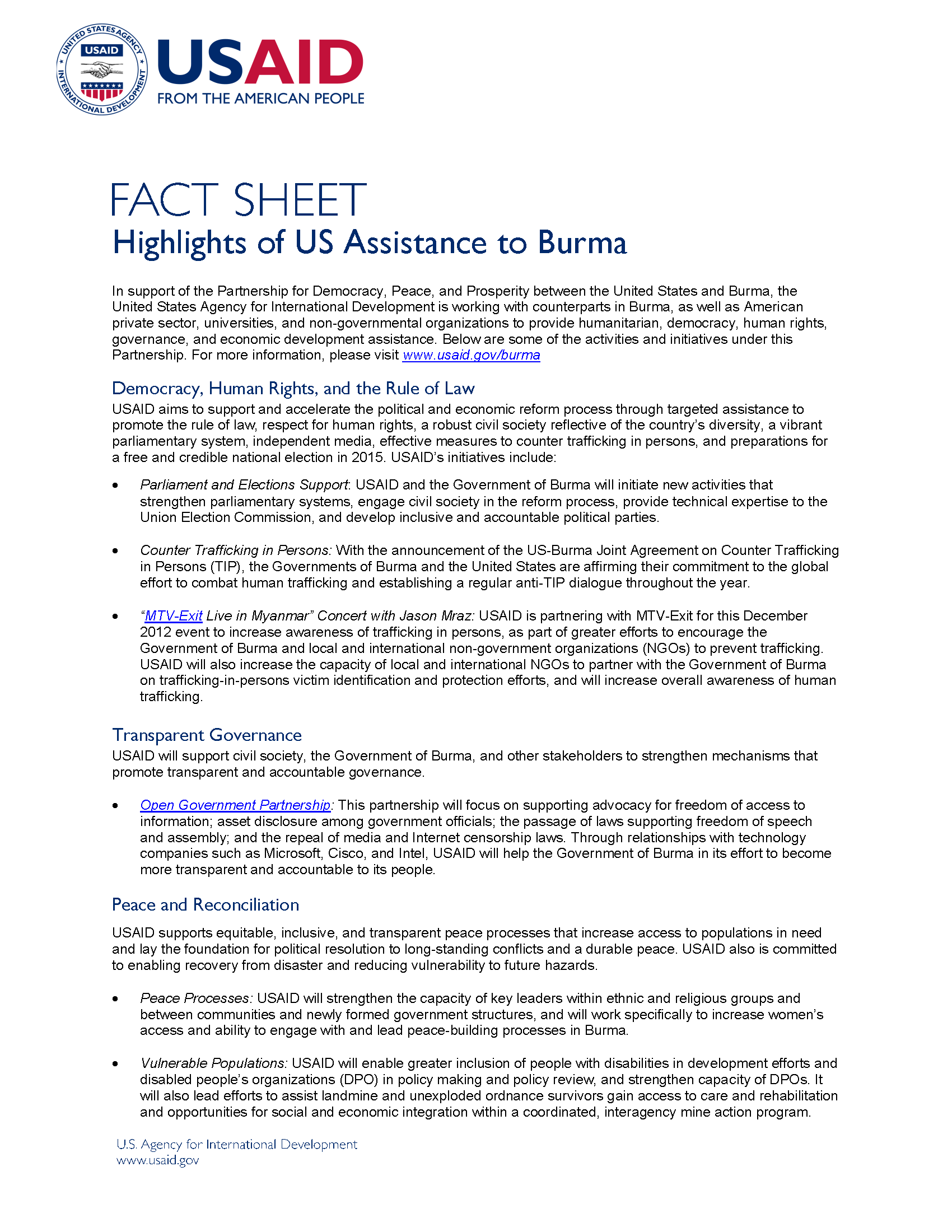 Highlights of USAID Assistance to Burma Fact Sheet