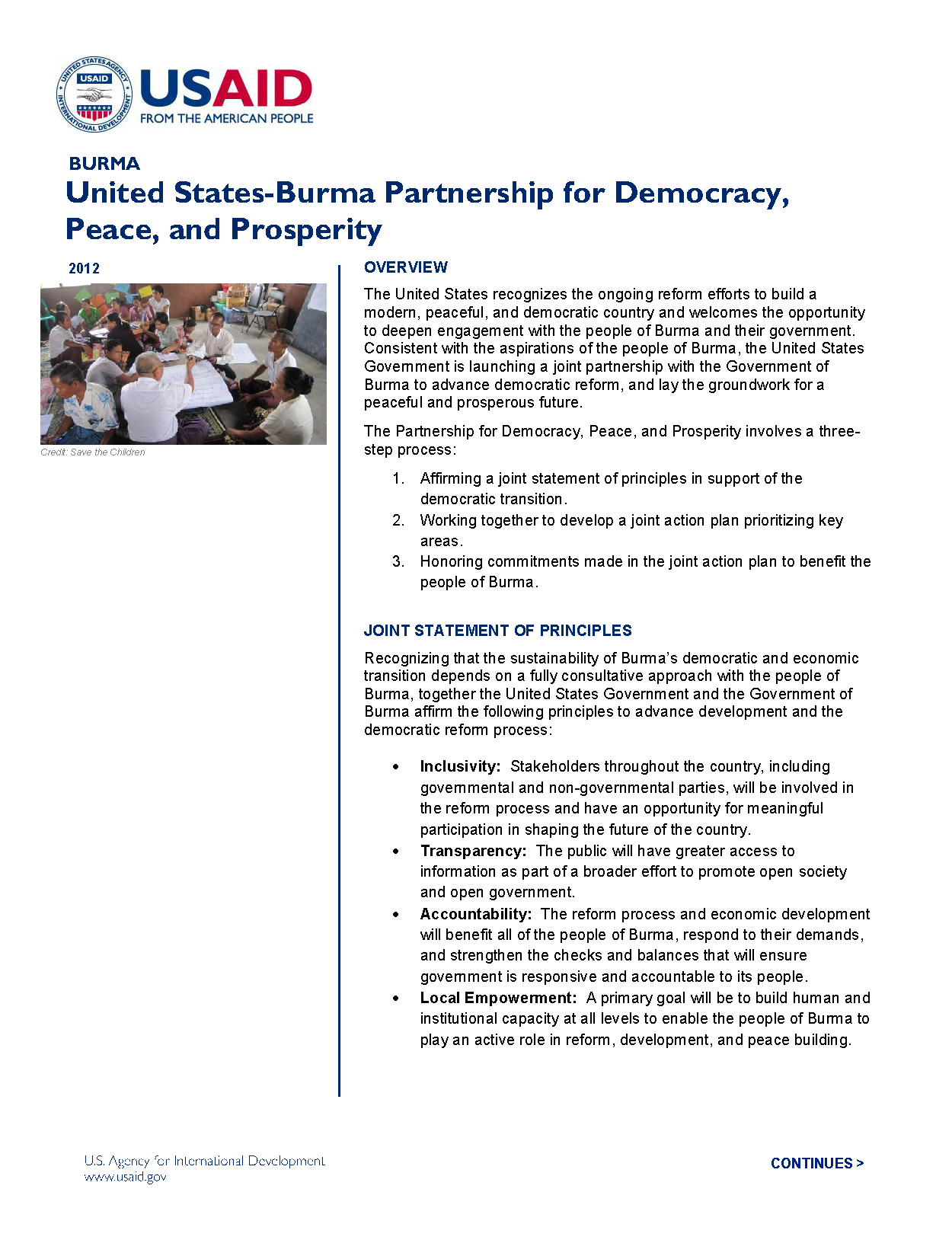 United States-Burma Partnership for Democracy, Peace, and Prosperity Fact Sheet