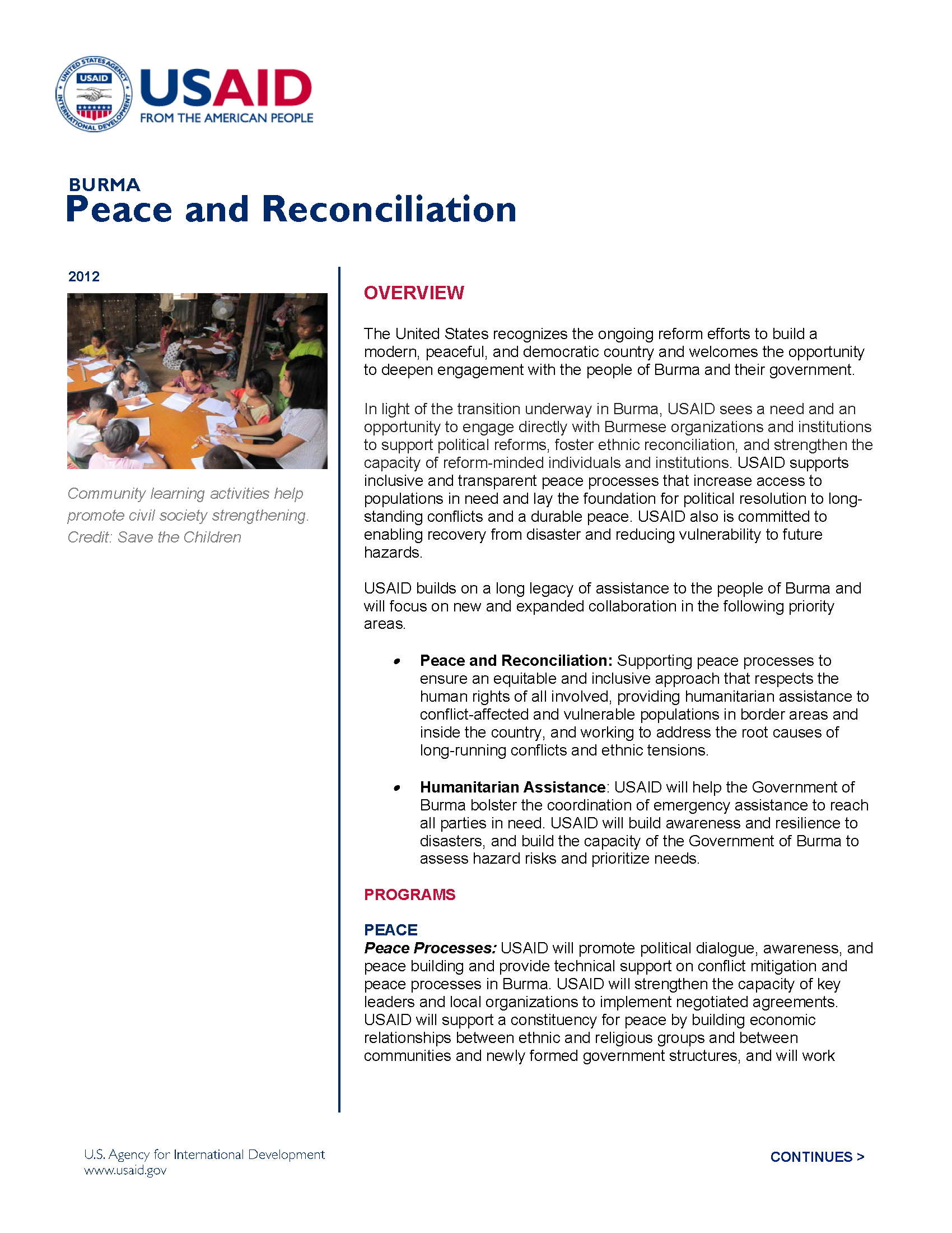 Burma Peace and Reconciliation Fact Sheet