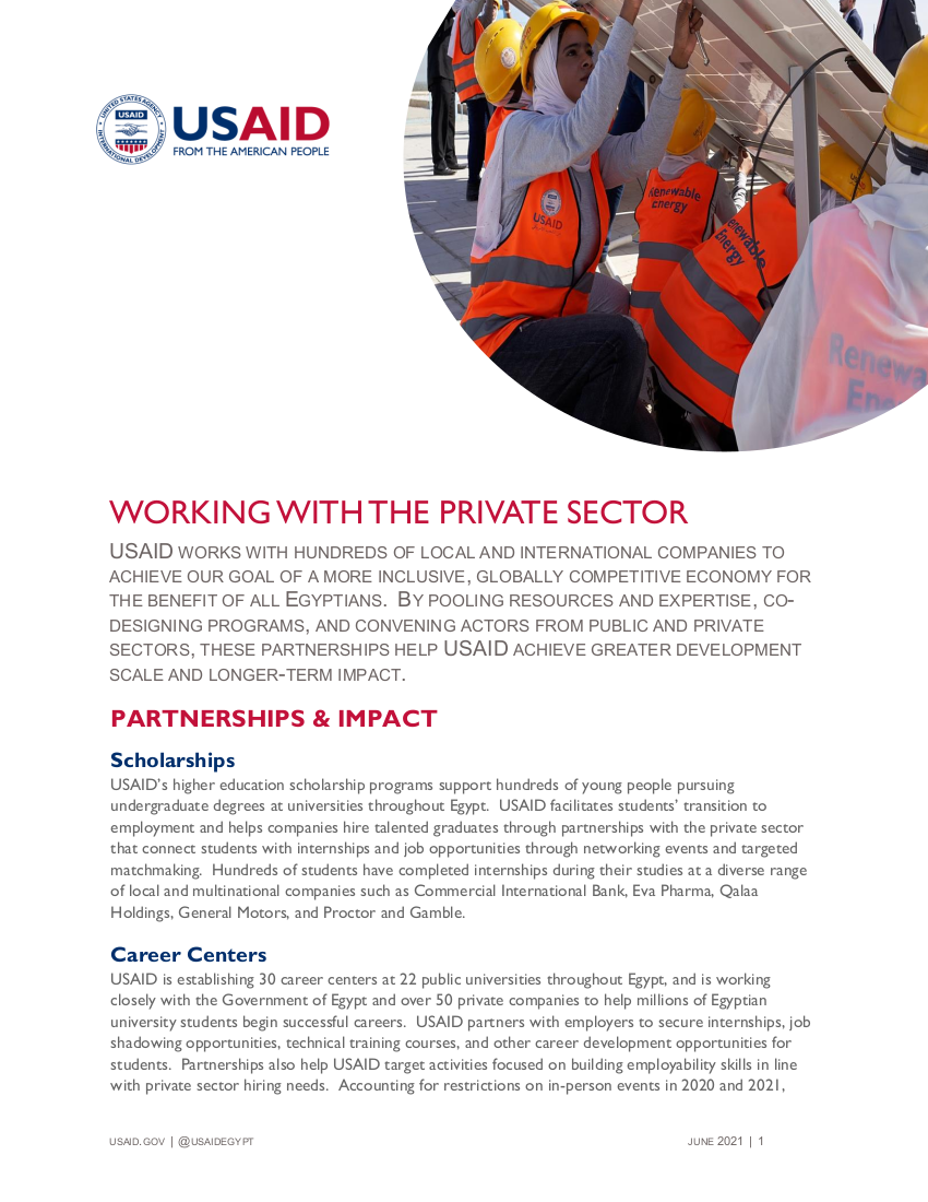 Fact Sheet: Working With The Private Sector