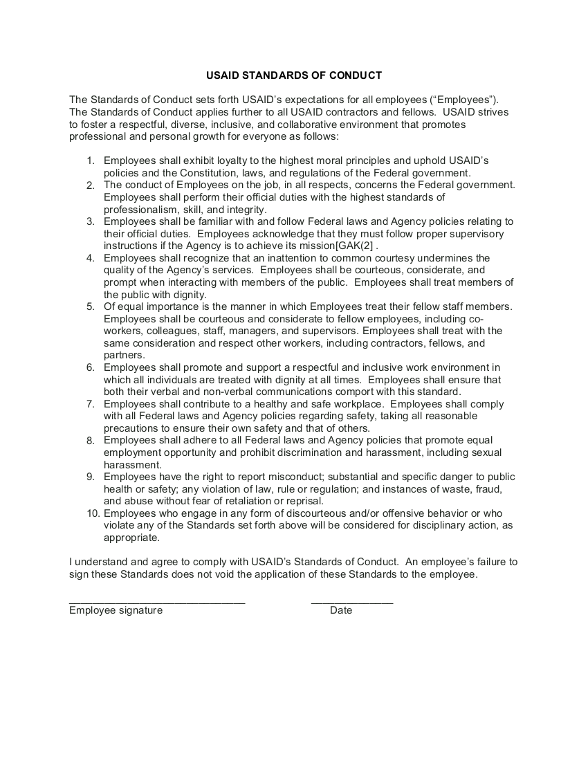 USAID Employee Standards of Conduct - Click to download PDF